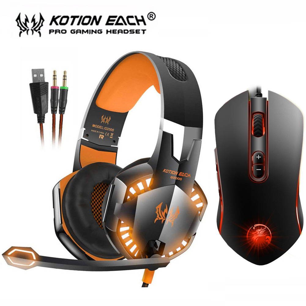 EACH G2000 Stereo Gaming Headset Bass Game Headphones with Mic LED Light+7 Buttons 3200 DPI LED Backlight Pro Gaming Mouse Gamer подушка 40х40 с полной запечаткой printio девушка и котёнок