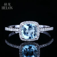 HELON Solid 14k White Gold 6X6MM Cushion 0.83ct Genuine Aquamarine Halo Diamonds Engagement Wedding Ring Exquisite Fine Jewelry