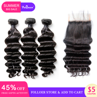 BeQueen Brazilian Hair Weave 3 Bundles With Closure Natural Wave Human Hair Bundles With Closure Raw Virgin Human Hair Extension