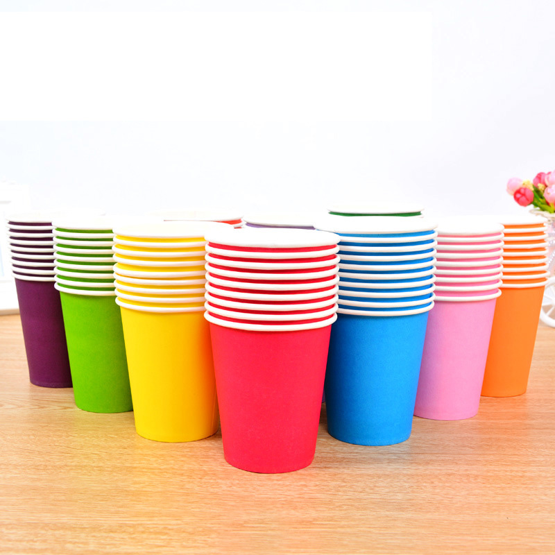 40pc/lot 250ml Disposable cups, Multi colored paper cups for wedding party new year Christmas,Home holidays tableware