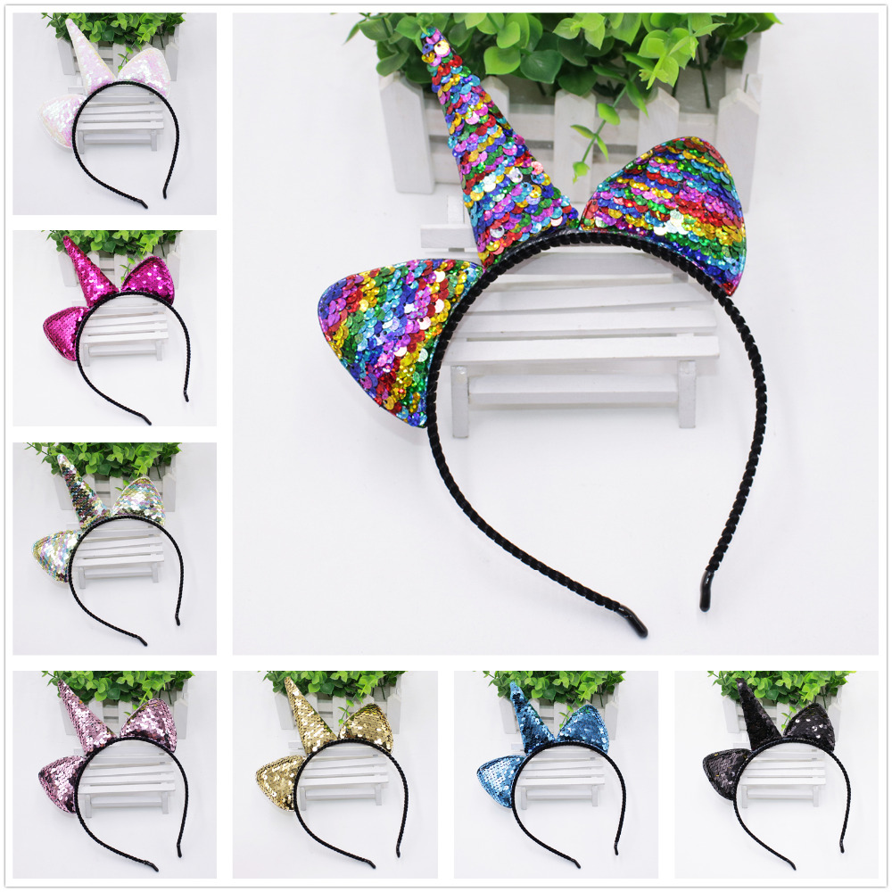 Cute Can Flip Sequins Glitter Unicorn Hairband Rainbow Unicorn Cat Ears Kid Party Cartoon Headband Hair Accessories For Women