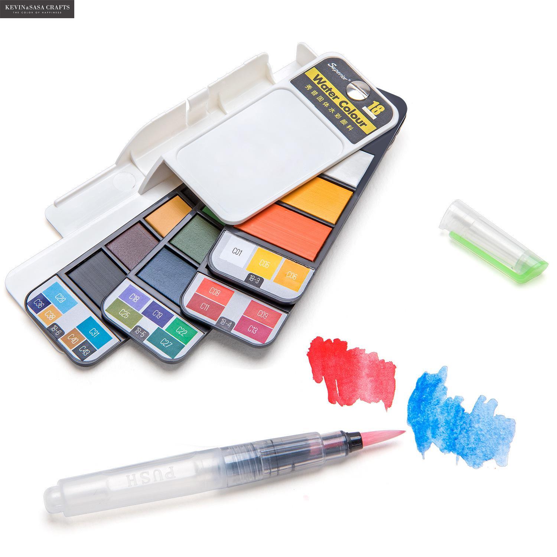 nova qualidade conjunto de pintura cor agua solida com escova de agua caneta portatil aquarela para