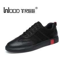 Woodtree Big Size Flats Sko Høj kvalitet Ægte Læder Mænd Casual Shoes Fashion Pustende Mænd Sko Real Leather Men Flat