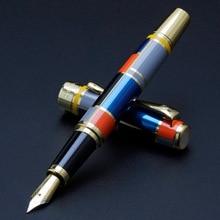 Couleur mosaïque illustration Iraurita stylo plume plein métal doré pince luxe encre stylos Caneta papeterie fournitures de bureau 1014
