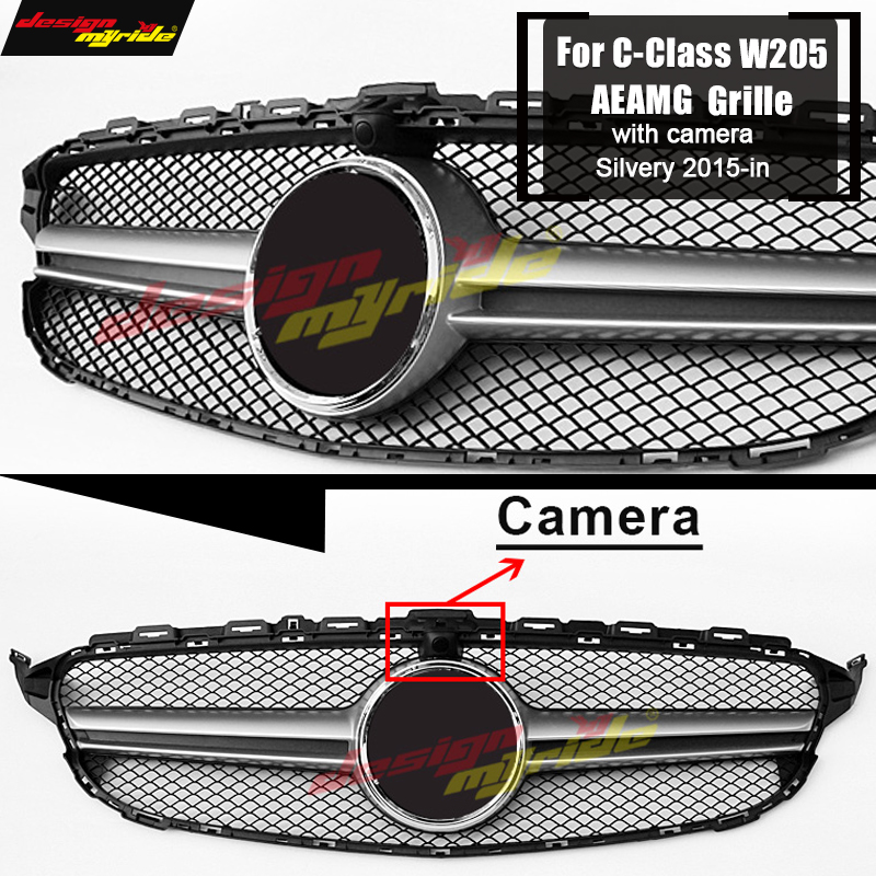 W205 grille AEAMG style With Camera Sport Front Bumper Mesh C180 200 C250 C300 C350 C400