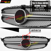 W205 grille AEAMG style With font b Camera b font Sport Front Bumper Mesh C180 200