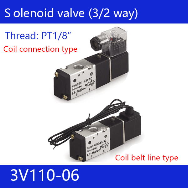 Free shipping good qualty 3 port 2 position Solenoid Valve 3V110-06,have DC24v,DC12V,AC24V,AC36V,AC110V,AC220V,AC380V 3 4 stainless steel electric solenoid valve 12vdc normally closed dc12v dc24v ac24v ac36v ac110v ac220v ac380v