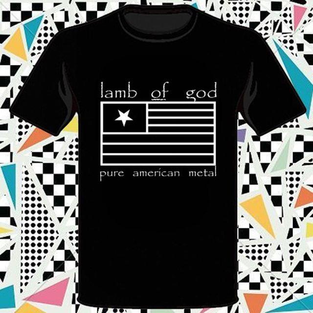 New Lamb of God Pure American Metal Album Logo Mens fashion Brand T Shirt