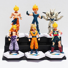 Anime Dragon Ball Z Super Saiyan Goku Vegeta Gotenks Buu PVC Action Figure Toys 6pcs/set 12cm Approx Free Shipping
