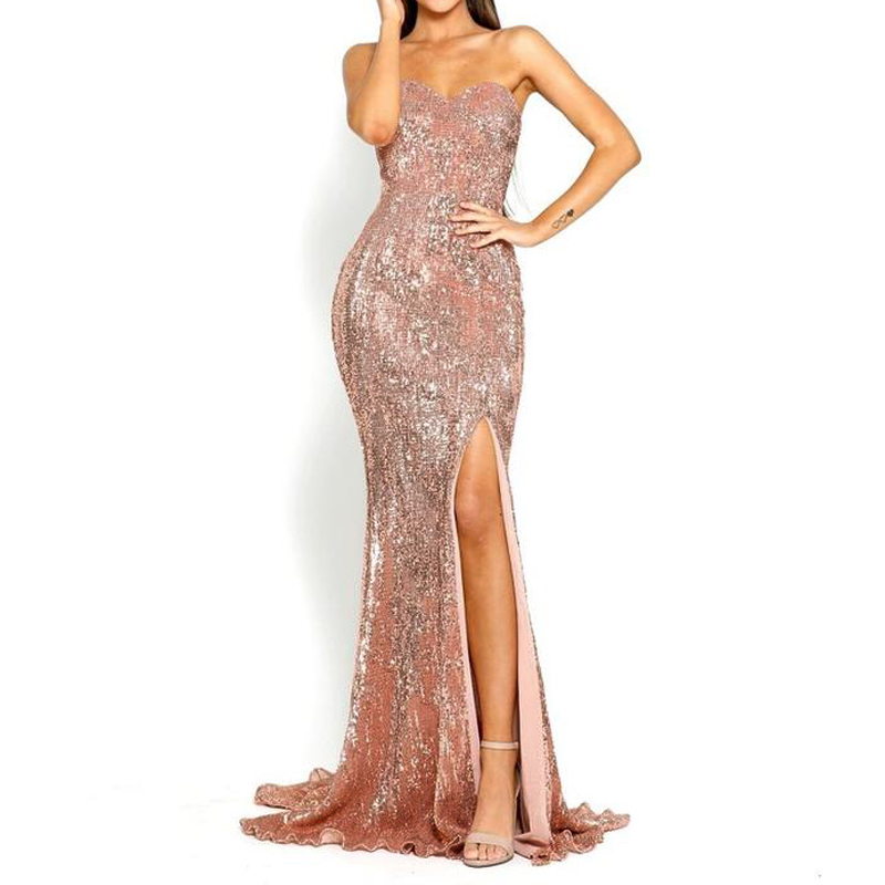 b0cc4b6ca70ed US $25.23 20% OFF|Summer Sexy Night Party Dress Vintage Women Elegant Gold  Backless Strapless Maxi Dresses-in Dresses from Women's Clothing on ...