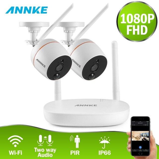 ANNKE 4CH 1080P Wireless CCTV Camera System Wi-Fi Mini NVR Surveillance kit Wireless IP Camera PIR Function SD Card Recording