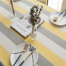 Home textile American tablecloth waterproof fabric stripes Small fresh tea table round cloth towel