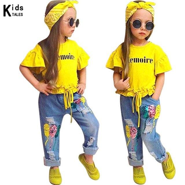 RT-250, Детская осенняя одежда для девочек комплекты одежды для малышей модная футболка с короткими рукавами для девочек + джинсовые штаны + повязка на голову, комплект из 3 предметов