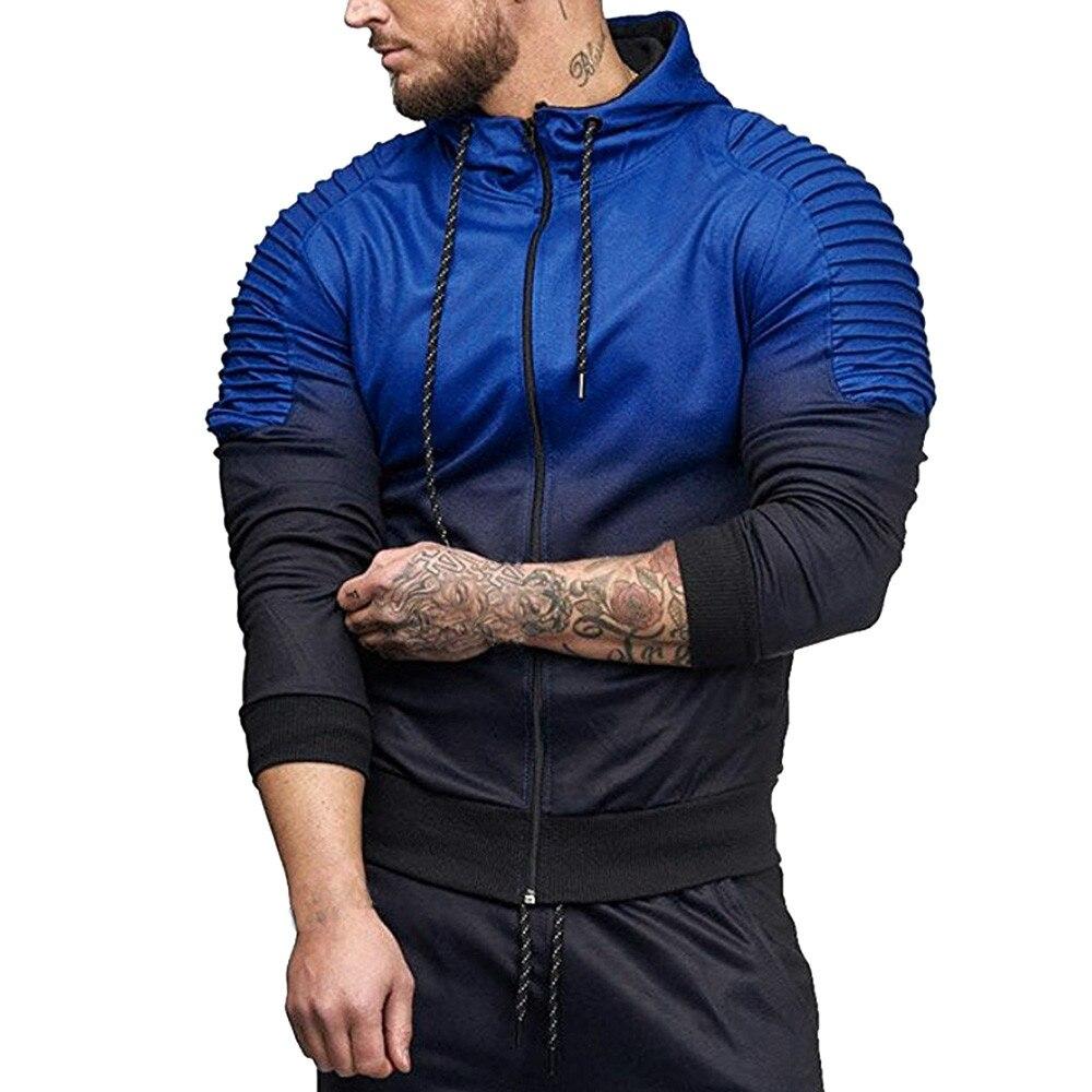 men clothes 2018 Autumn Winter Long Sleeve Splicing Fold Sportswear Men Sweatshirt Hip-Hop Male Hooded Hoodies Pullover Hoody