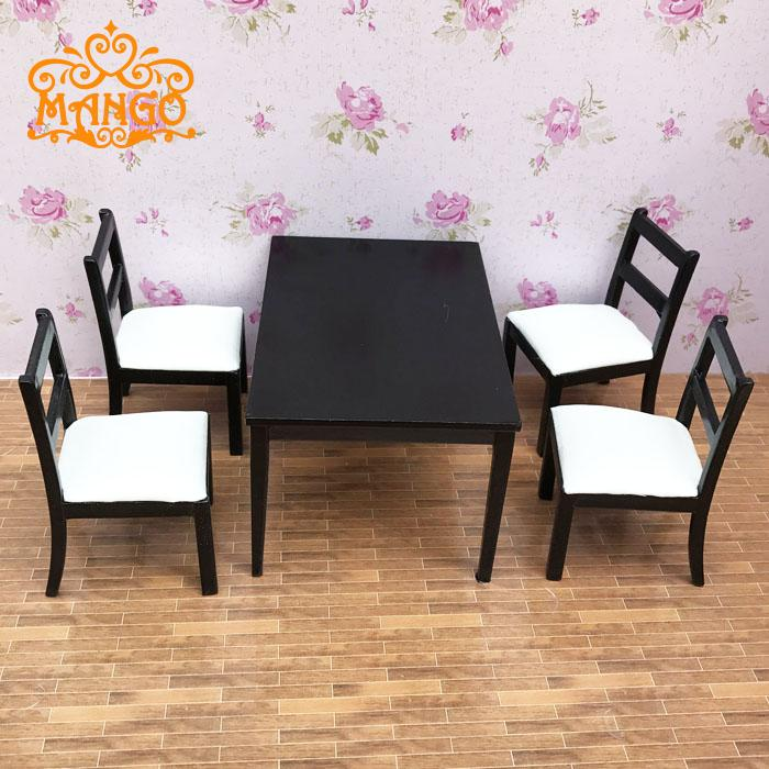 1/12 Dollhouse Dining Room Furniture Set 5pcs Dining Black and white chairs and tables