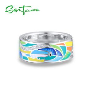 Image 2 - SANTUZZA Silver Ring For Women 925 Sterling Silver Face Rings for Women Shiny White CZ Colorful Enamel Party Fashion Jewelry