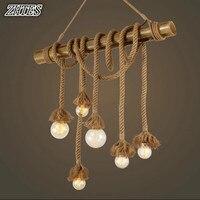 Loft Vintage bamboo hemp rope pendant light retro E27 bar restaurant cafe decor pendant lamp