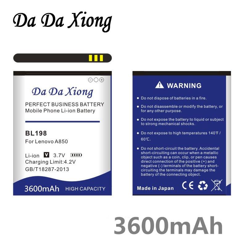 dc7fa0fd6f4 Da Da Xiong 3600mAh BL198 Battery for Lenovo A850 A860E S890 A859 A830 K860  K860i A678T