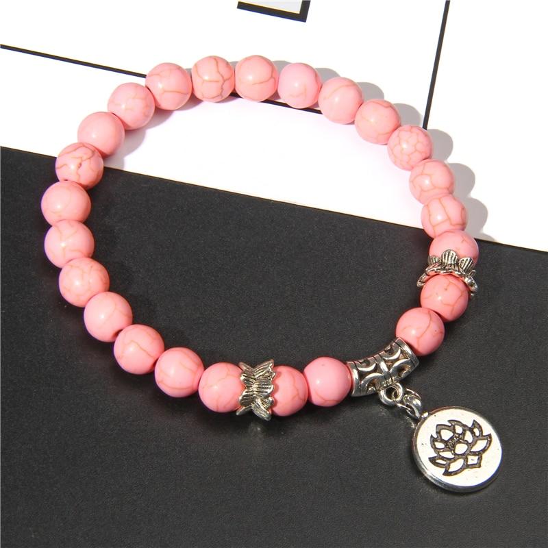 Handmade Natural Stone Lotus Ohm Buddha Beads Bracelet Pink Zebra Stone Lotus Charm Bracelet for Women Men Yoga  Jewelry Gifts 3