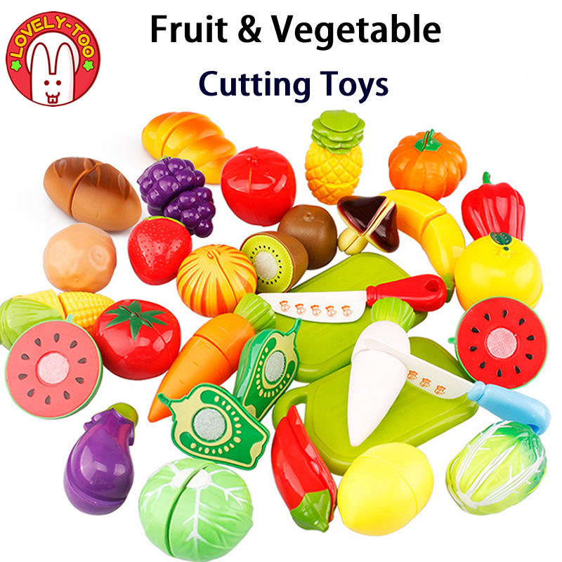 Lovely Too Kids Vegetable Cutting Toys Cut Fruit Games Pretand Play kit kat Kid's Kitchen Miniature Food Game For Girls And Boys
