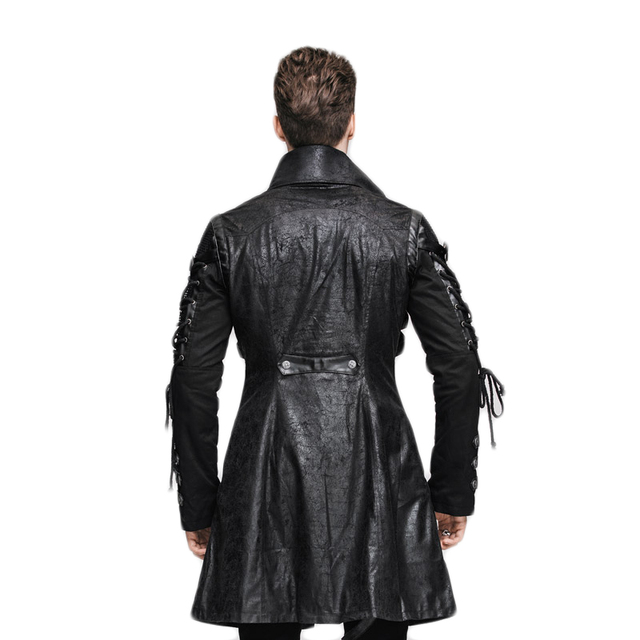 Steampunk Black Mens Faux Leather Jackets And Coats 2017 Winter Military jacket Punk Gothic Locomotive Leather Sleeves Coat