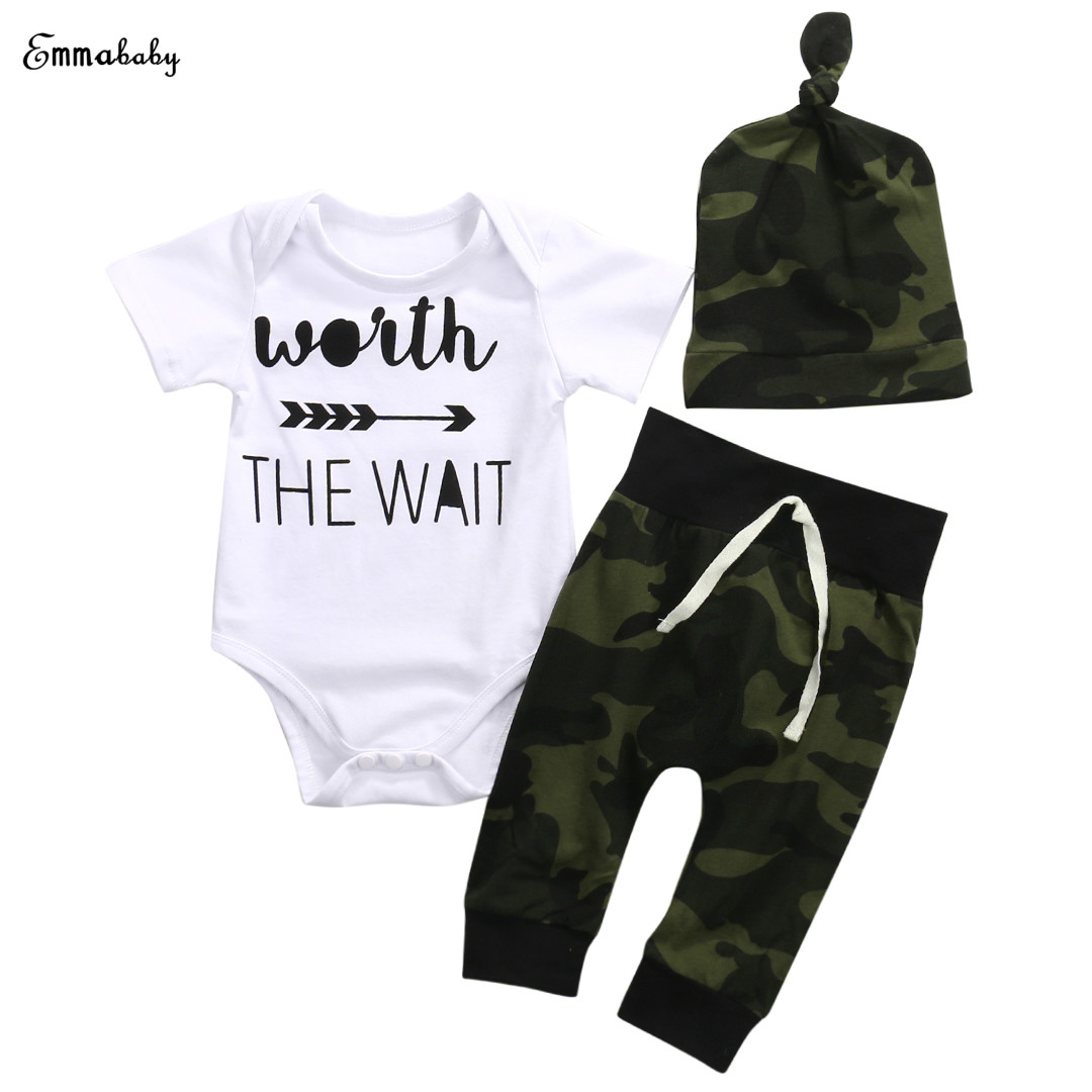 8ef153ab7 Best buy Camouflage Newborn Baby Boy Girl Clothes Worth The Wait Short  Sleeve Cotton Romper Bodysuit Long Pant Trouser Hat 3PCS Outfits online  cheap