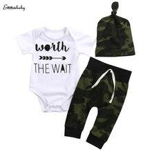 Camouflage Newborn Baby Boy Girl Clothes Worth The Wait Short Sleeve Cotton Romper Bodysuit Long Pant Trouser Hat 3PCS Outfits