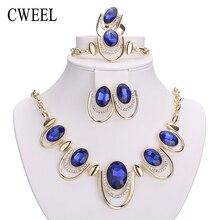 Cweel новых африканских ювелирные наборы золотой цвет белый имитационные синий/кристалл женщины свадебные серьги браслета ожерелья комплект кольца
