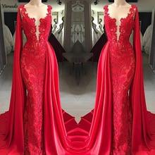 Red Muslim Evening Dress 2019 Mermaid Appliques Lace Islamic Dubai Saudi Arabic Long Gown Prom Dresses abiye