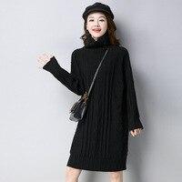 Super High Quality Warm Turtleneck Cashmere Dress 2017 Winter Mini Dress Straight Long Sleeve Dresses Solid