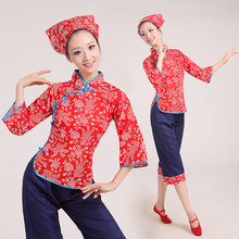 Top+Pants+Kerchief Woman Chinese National Yangko Dance Costume Female Chinese New Year Waist Drum Dance Clothing Sets Stage 89(China)