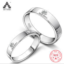 925 Sterling Silver clover couple rings Korean fashion jewelry lettering ring Valentines Day gift