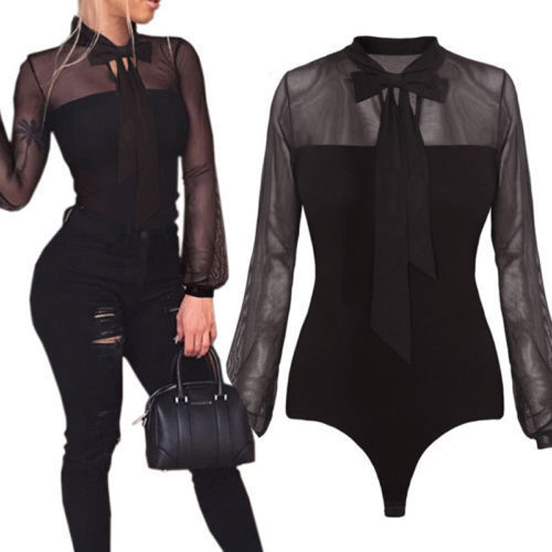 Fashion Women Ladies Bodysuit Sexy Leotard Long Sleeve Cotton Body Tops Slim Summer Jumpsuit S-XL Women Clothes