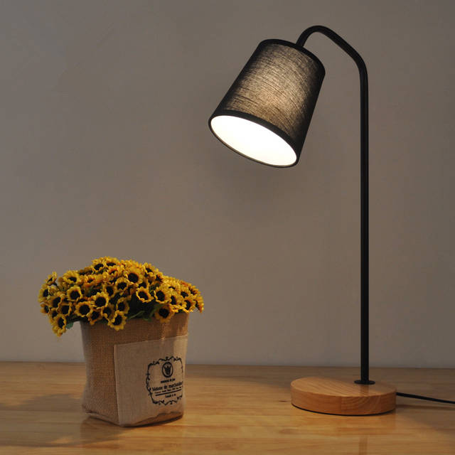 Online Shop Nordic Small Led Table Lamp Light Wood Cloth Rustic