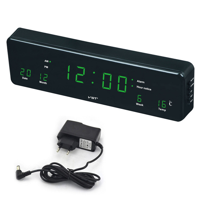 Large Digital alarm Clock With Temperature Calendar Big digit LED Electronic Table Watch Desk Nixie Clock For Wall mural decor