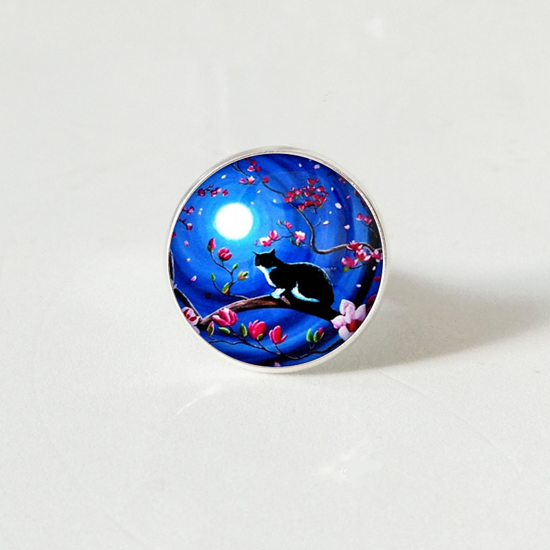 Popular Moon Cat Series Glass ring, Fashion Gift Wholesale, Handmade Custom Private Picture