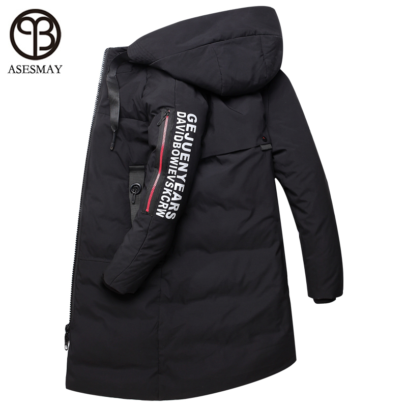 Asesmay 2018 new brand men   down   jacket men's winter   coats   thick warm long parkas goose feather hoodies casual couple wear S-5XL