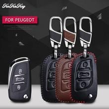 3 Button Leather Car Key Case For Peugeot 207 307 308 Citroen C2 C3 C4 C5 C6 C8 Protector Cover Holder Skin Accessories