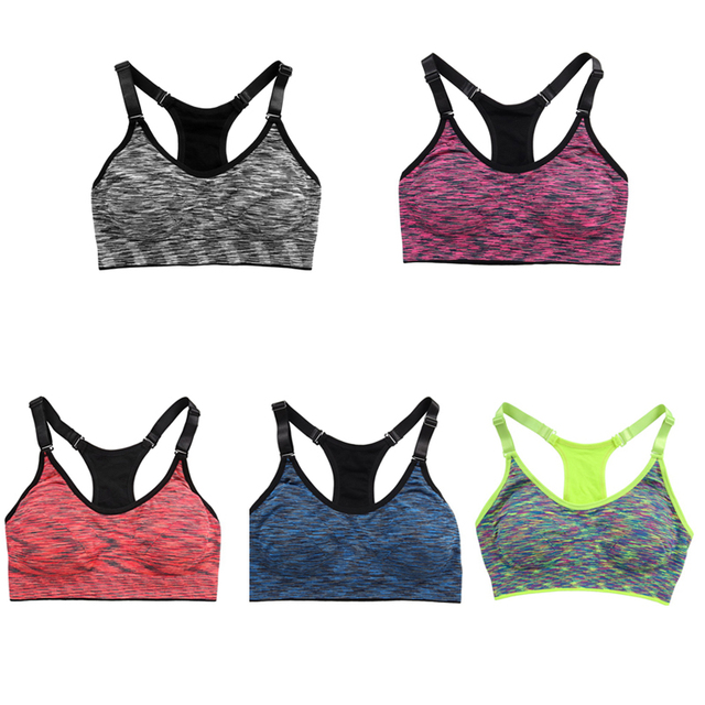 Women Quick Dry Sports Bra Wirefree Padded Shakeproof Fitness Underwear Push Up Seamless Yoga Sport Top SML 5 Colors