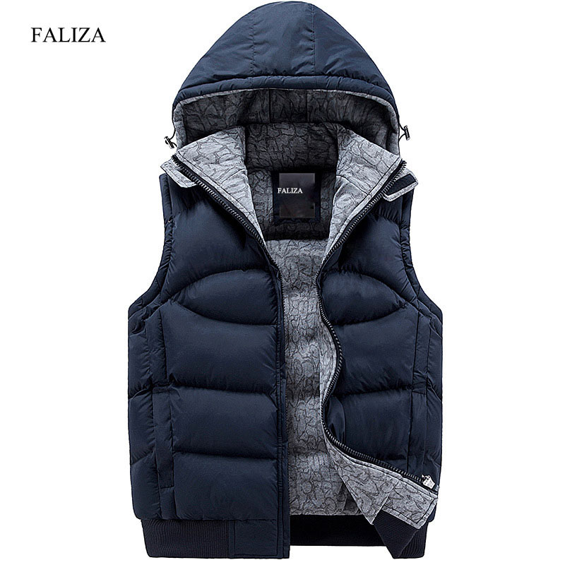 FALIZA 2017 New Stylish Autumn Winter Vest Men High Quality Hood Warm Fashion Sleeveless Jacket Waistcoat Men Windbreak SM-MJ-C