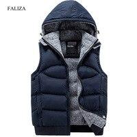 FALIZA 2017 New Stylish Autumn Winter Vest Men High Quality Hood Warm Fashion Sleeveless Jacket Waistcoat