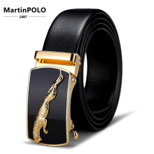 MartinPOLO Mens Automatic Buckle Genuine Leather Belt Cow Male Belts Original Natural Cowskin Strap  MP01501P