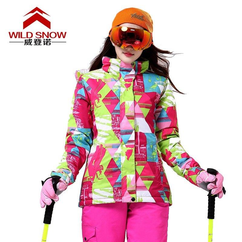 Prix pour Classique D'hiver de Neige Veste Imperméable Coupe-Vent Thermique Manteau Randonnée Camping Cyclisme Veste D'hiver Ski Veste Femmes PYJ518