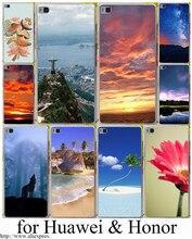 Мода красивый город океан цветок жесткий прозрачный case обложка для huawei p6 p10 p7 p8 p9 lite плюс & honor 8 lite 6 7 4c 4x G7