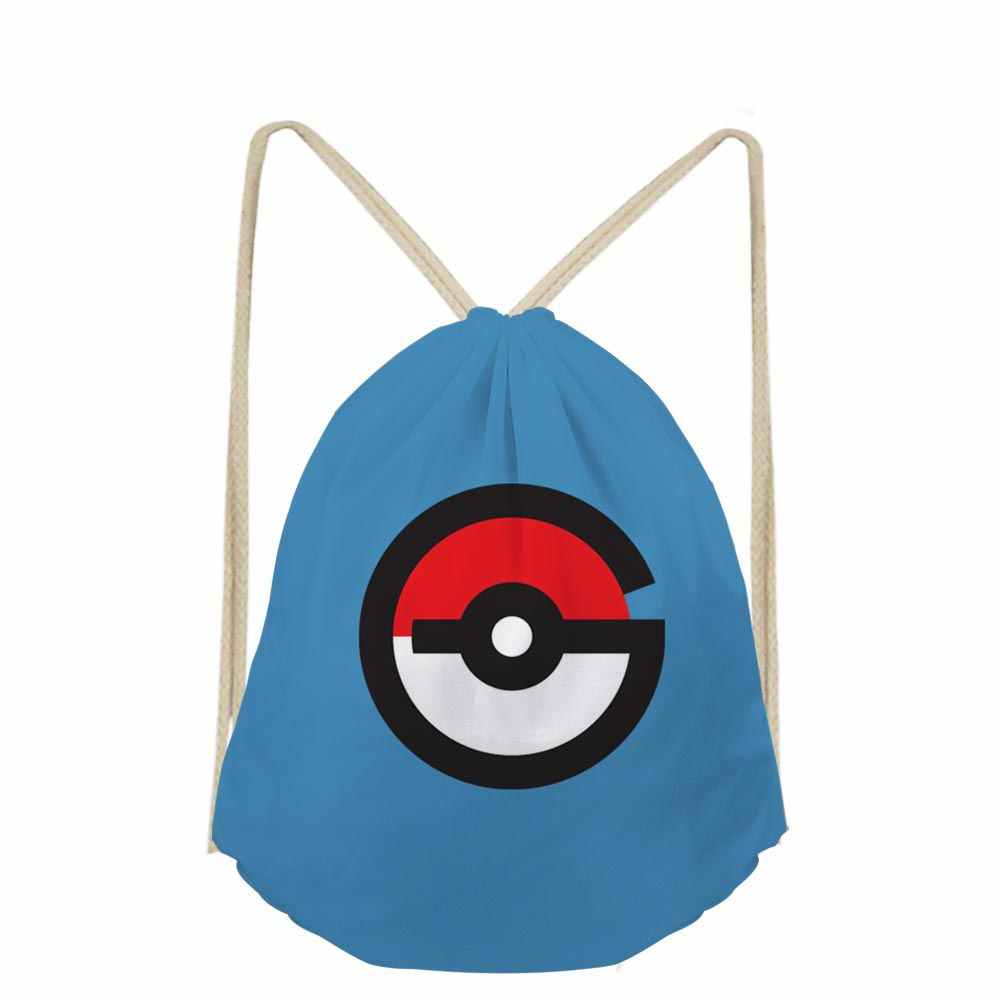 8db742053a Anime Pokemon Go Cartoon Printed Mochilas Escolar Shoe Pocket Small  Drawstring Bag for Boys Girls School