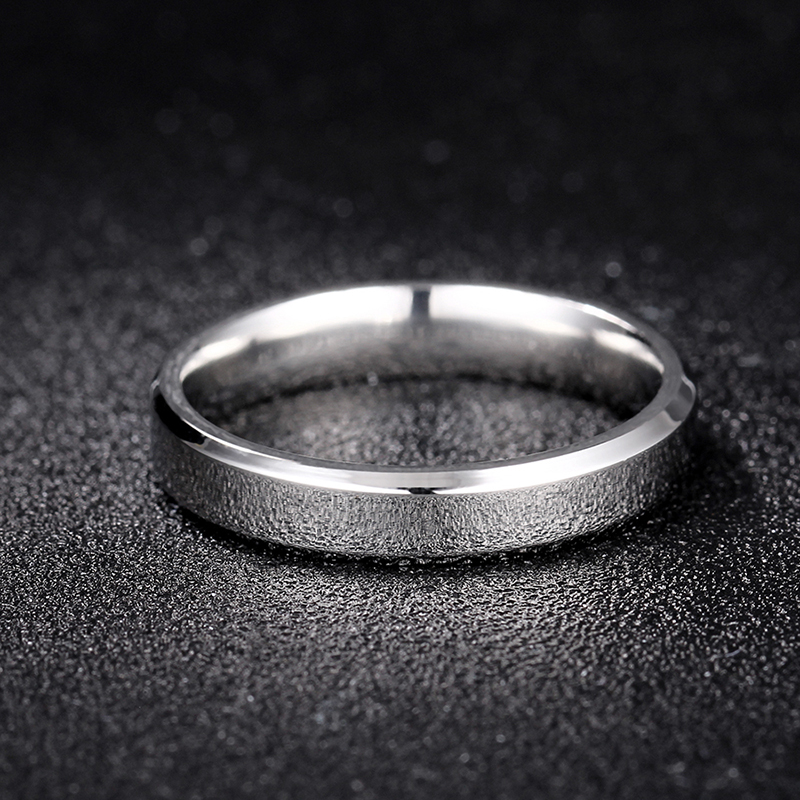 4mm Bright Polish Silver Color Titanium Ring For Men and Women