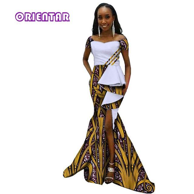 2018 African Dresses For Women African Print Long Dresses Dashiki Dress  Bazin Riche Mix Size Party Vestido Mermaid Dress WY2901 8c99924af742