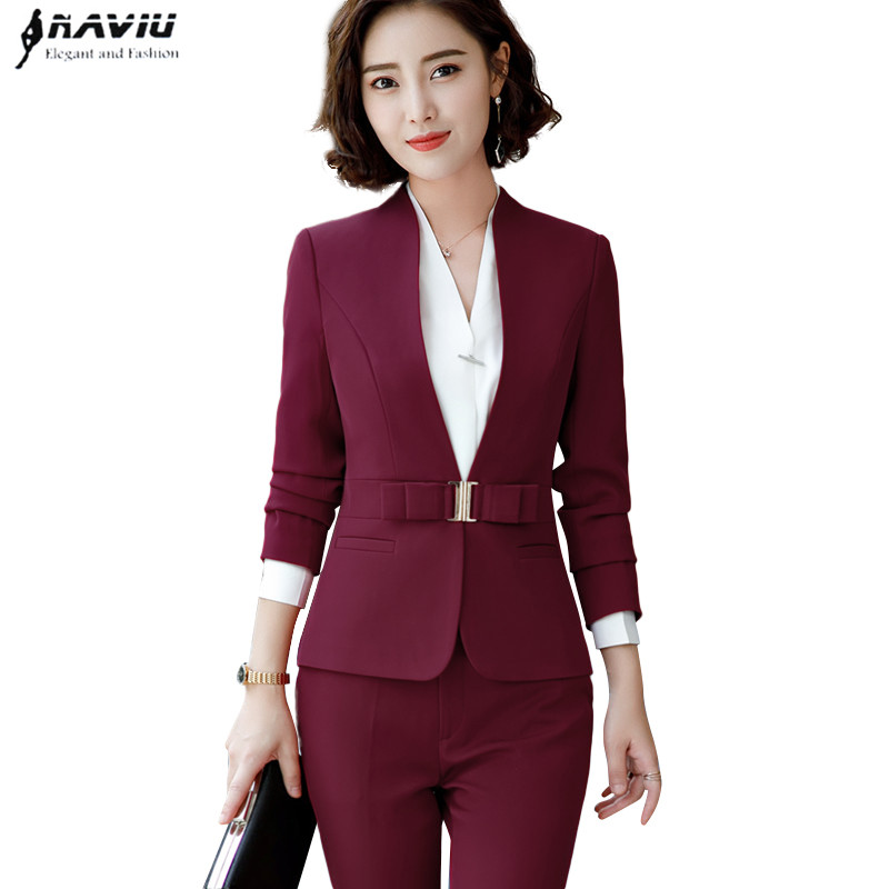 2018 New high quality women trouser suits fashion design butterfly buttons two pieces set slim design