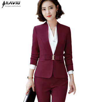 2018 New high quality women trouser suits fashion design butterfly buttons two pieces set slim design pant suits office wear