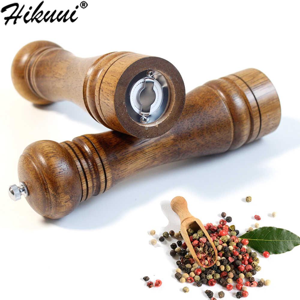 Moulin à sel et poivre 5 8 10 pouces moulin à Grain d'épices en bois massif avec noyau de meulage en céramique réglable moulins à outils de cuisine